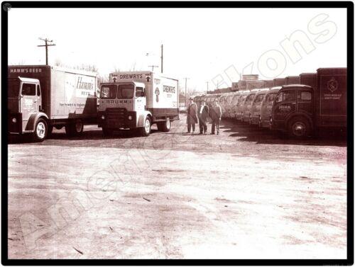 Vtg White Truck New Metal Sign: Brumm Distributing, Hammond, IN - Drewry