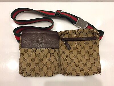 Gucci Waist Bum Bag GG Monogram Canvas Web Stripe