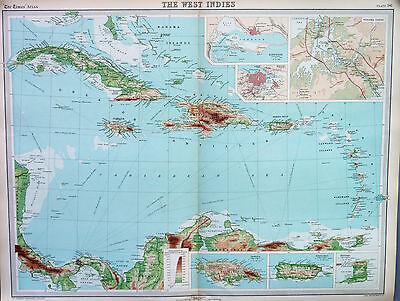 Map of West Indies Large 1922 Original Antique