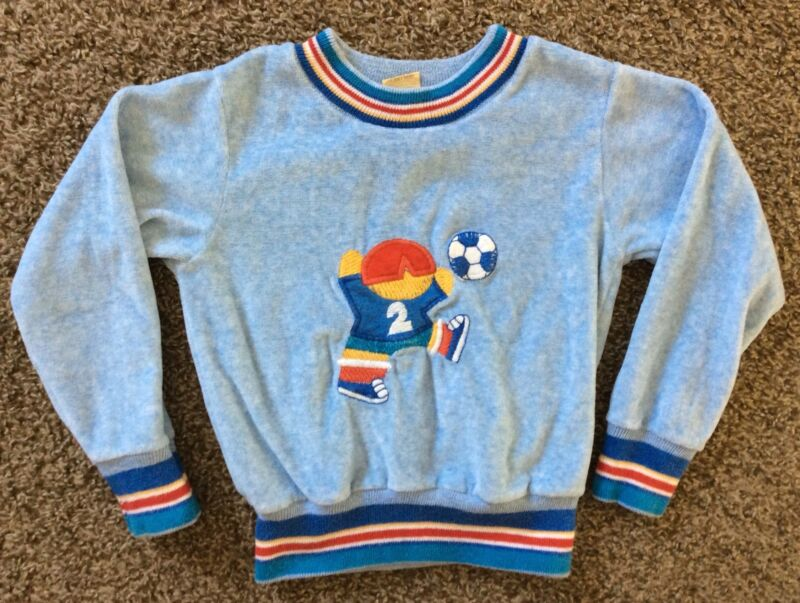 Vtg 70s 80s Carters Toddler Soccer Sweatshirt Blue Size 4T