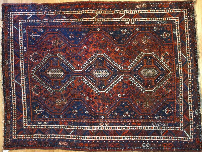 Sensational Shiraz - 1930s Antique Persian Carpet - Tribal Rug - 5.6 X 7 Ft.