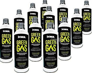 KWA AIRSOFT Green Gas 8oz Can Premium High Performance Compressed Fuel [12 Pack]