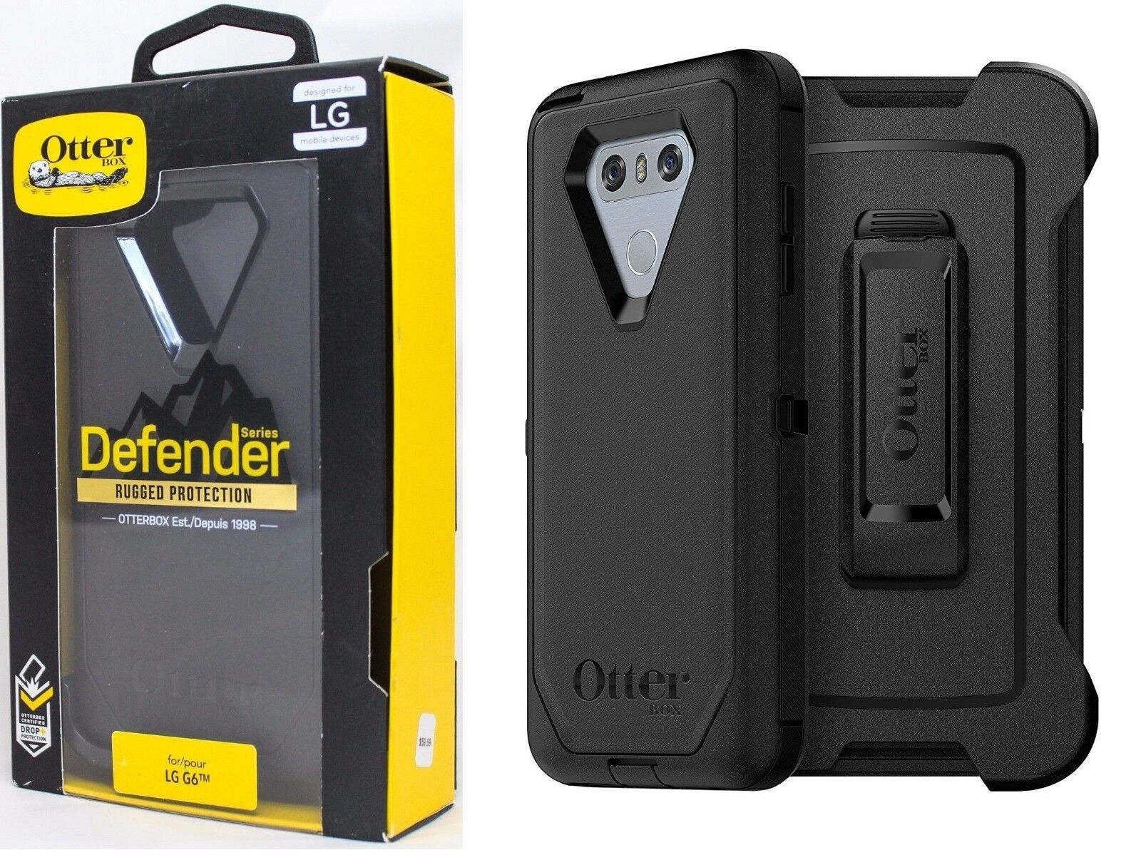 OtterBox Defender Series Case with Belt Clip Holster for LG G6 G6 Plus Black