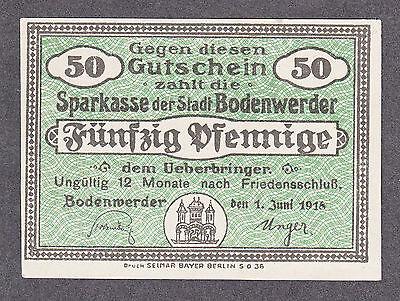 Bodenwerder 50 Pf. v. 1.06.1918 -bis 12 Monate- mit Wasserzeichen Schippen!!!