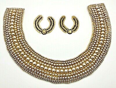 Faux Pearl Necklaces In Bulk (Vintage Made in Japan label hand beaded faux pearl collar necklace lot)