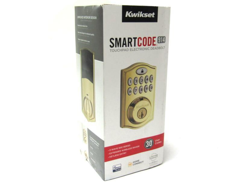 New Kwikset 99140-022 SmartCode 914 Keyless Deadbolt Entry Kit | Polished Brass