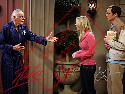 8.5x11 Autographed Signed Reprint RP Photo Stan Lee Kaley Cuoco Big Bang Theory for sale  Kansas City