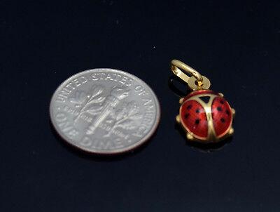 14K Yellow Gold Enameled Ladybug Pendant Charm Pendant Jewelry
