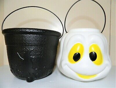 Vintage Halloween Trick Or Treat Pails Blow Mold Candy Bucket Ghost Witch