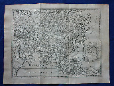 Original antique map, ASIA, CHINA, JAPAN, INDIA, SIBERIA, R.W. Seale, 1744