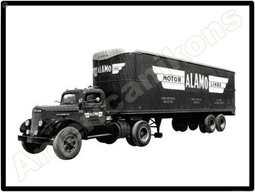 White Trucks New Metal Sign: Alamo Motor Lines Truck & Trailer Pictured