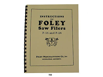 Foley Belsaw F16 F24 Automatic Saw Filer Parts List Manual 1113
