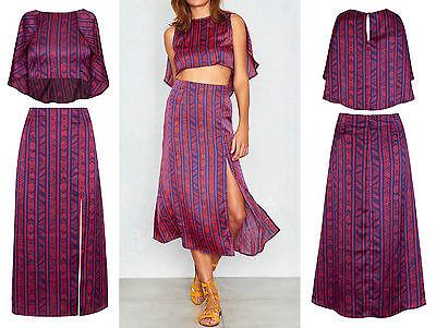 Boho Women Print Asymetric Crop Top High Waist Split Midi Skirt Co Ord Set 6 14