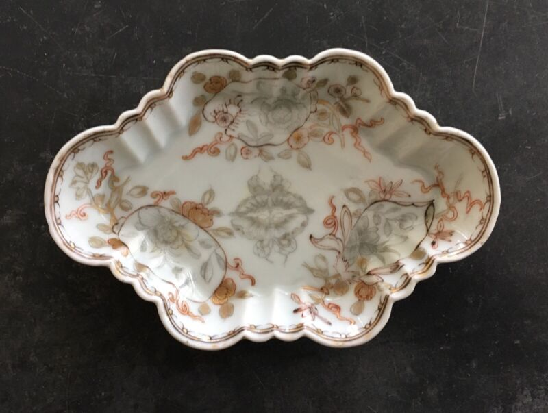Circa 1740 Chinese Export Porcelain Tray with Grisaille and Gilt Decoration