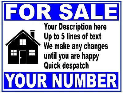 PERSONALISED House Flat Property Business FOR SALE sign boards FROM ONLY £12.99
