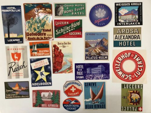 Hotel Luggage Label Lot with 20 labels from Switzerland