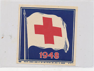 C8578  1948  PATRIOTIC RED CROSS  DECAL WINDOW STICKER DECAL