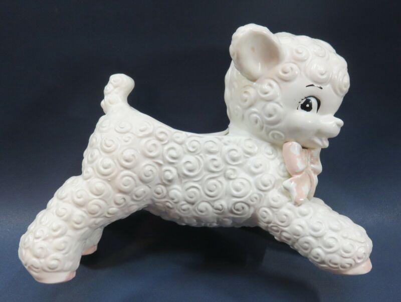 """VTG Adorable Ceramic Little Lamb White EASTER SPRING NURSERY Planter 6"""" tall"""