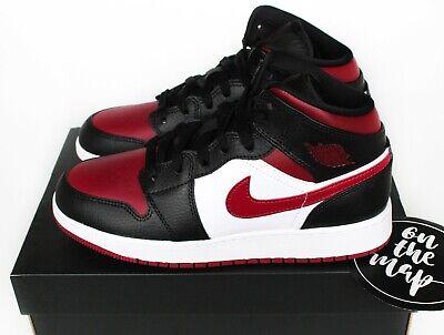 Nike Air Jordan 1 Retro Mid Bred Toe Black Noble Red White UK 3 4 5 6 7 8 9 10