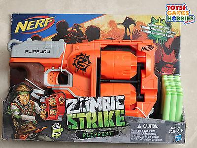 Nerf Zombie Strike Flipfury Foam Dart Barrel Drum Set Target Gun Cross Fire Bow