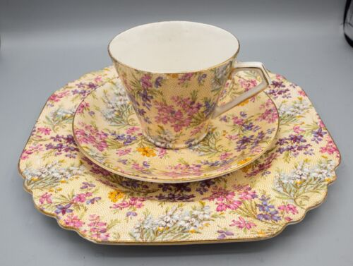 Lord Nelson Heather Tea Cup & Saucer Luncheon Plate Trio Chintz FREE USA SHIP
