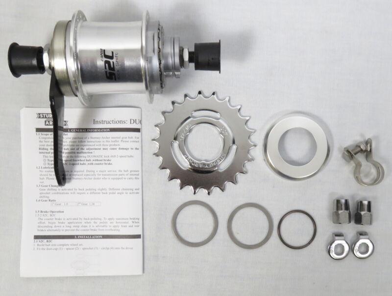 Sturmey-Archer S2C Kick-Shift 2-Speed Internal Gear Wheel Hub Kit 36h 116mm NEW