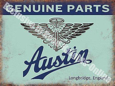 Austin Old Classic Car Badge, 111 Vintage Garage, Spares, Large Metal Tin Sign