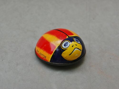 """Lady Bug Friction Tin Metal Litho Toy """"K"""" Japan Vintage Beetle Red Yellow Blue"""