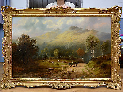Very Large Fine 19th Century Landscape Oil Painting of Iconic Welsh Mountain