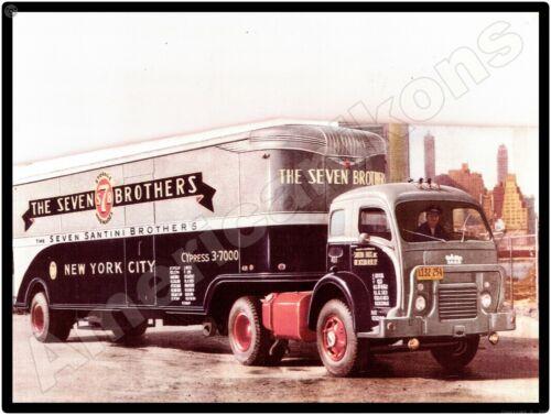 White 3000 Trucks New Metal Sign: Seven Santini Brothers Storage.  New York City