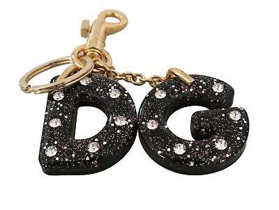 DOLCE & GABBANA Keychain Black Leather Crystal Gold DG Logo Keyring RRP $300