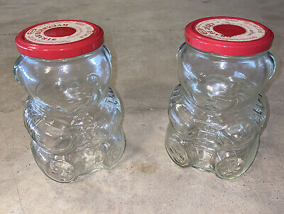 Kraft Teddy Bear 1988 Glass Collectible Vintage Jelly Jars w/ Red Metal Lids