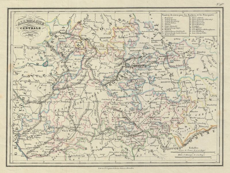 1835 Malte-Brun Map of Central Germany