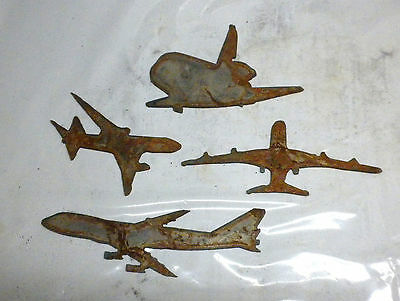 Lot Of 4 Airplane Jet Plane Shapes 3-4 Rusty Metal Vintage Ornament Craft Sign