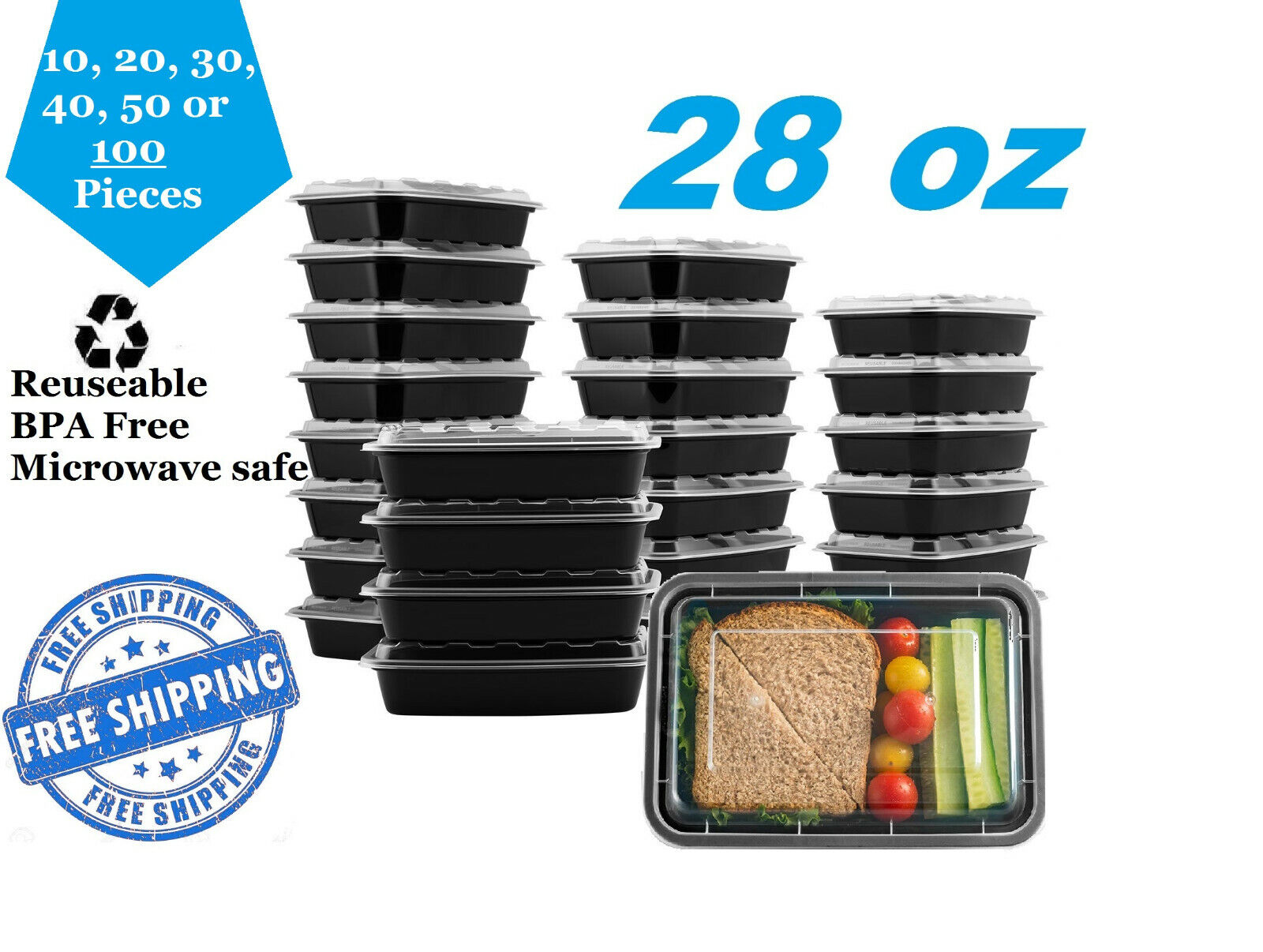28oz Meal Prep Food Safe Containers +Lids Reusable Microwavable Bento BPA Piece Food Storage Containers