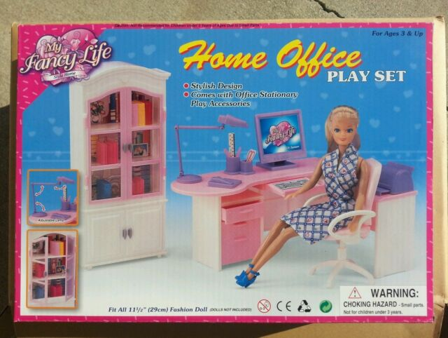 High Quality GLORIA FURNITURE DOLLHOUSE HOME OFFICE Shelf + Desk + Chair PLAYSET FOR  BARBIE