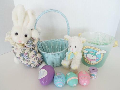 Hallmark Easter Basket Pail E. Bunny Plush Lamb Plastic Eggs Vintage Lot NOS