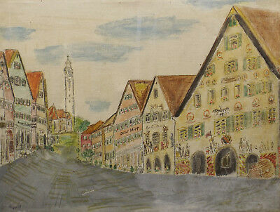 """"""" Historische Gebäude,Stadt,Strassenansicht """"Öl/Lwd. sign. Oscar Hipp 77"""