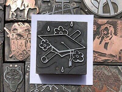 Antique Vtg Graduation Hat Diploma Letterpress Print Type Cut Ornament Block