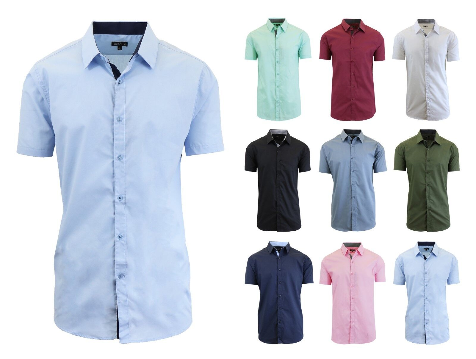 Mens Short Sleeve Dress Button Down Causal Shirt Fancy Solid Slim Fit Contrast Clothing, Shoes & Accessories