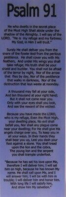SOBRIETY / RECOVERY BOOKMARK - PSALM 91- SPIRITUAL