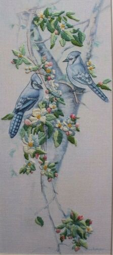 """Dimensions """"Jays and Blossoms"""" Birds Tree Floral Crewel Embroidery Completed"""