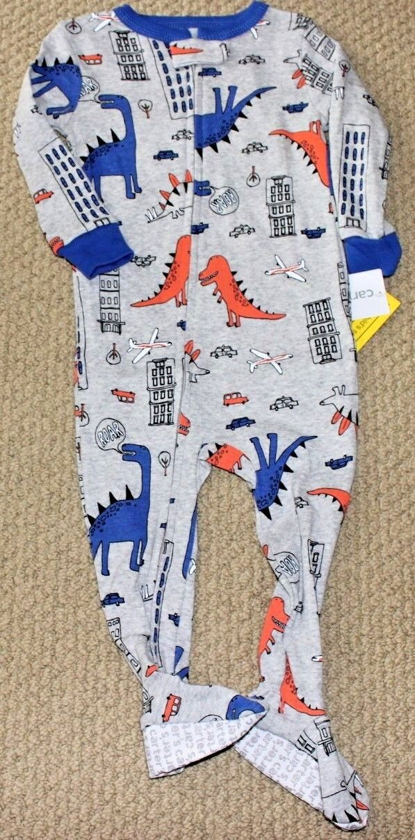Carter's Pajamas 12 24 M Footed NWT Cotton Boy's Dino Dinosa