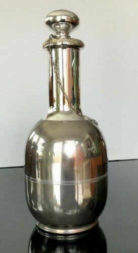 ART DECO 1910 American Mercury Glass & Chrome Thermos Carafe Attached Stopper