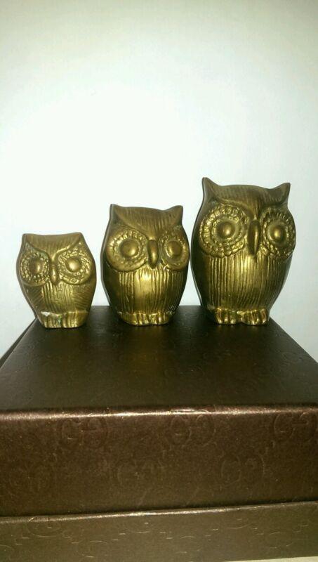 Solid brass owls mid century