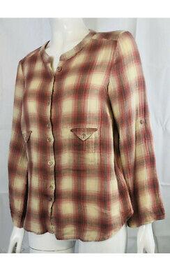 IRO Ladies Shirt Blouse Top Checked Red/Cream Size 3 Medium 100% Cotton