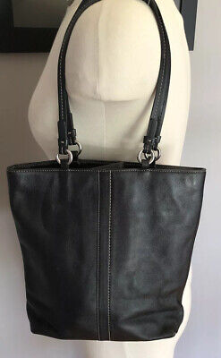 Authentic Coach Vintage Black w/White Stitching Shoulder Shopper Tote Purse