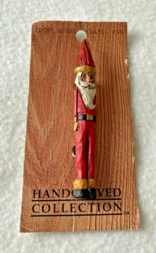 """Vintage Hand Carved Collection Skinny Santa Claus Pin Brooch 3"""" NOS"""