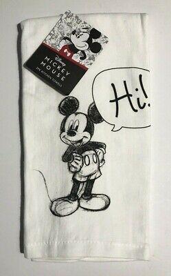 """Disney MICKEY MOUSE Hi! Bye! Cotton Kitchen Towel Set-2 pk 16""""x26"""" NEW"""