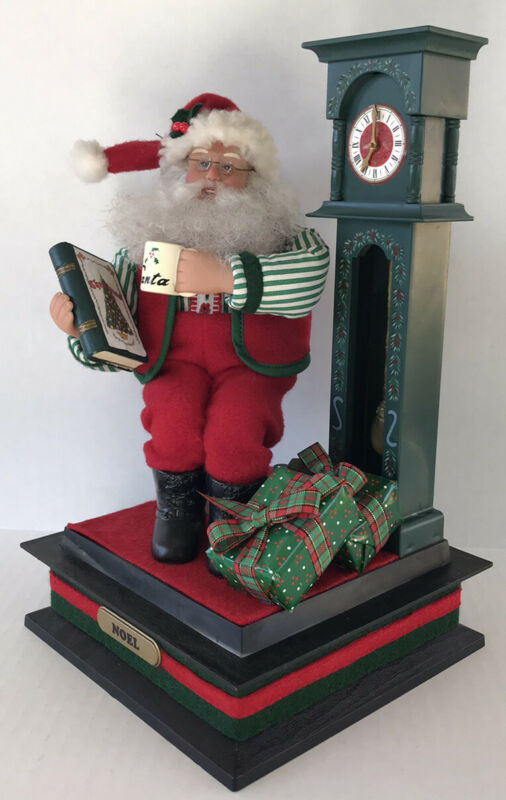 """Vintage Santa Claus Figure Holiday Creations Music Box """"Story Time"""" 1993"""